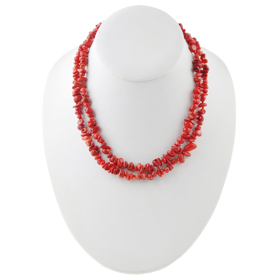 Yard Party Necklace-Red Bamboo Coral