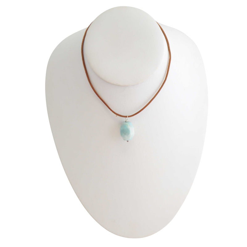 Simplicity Stone and Leather Necklace-Amazonite