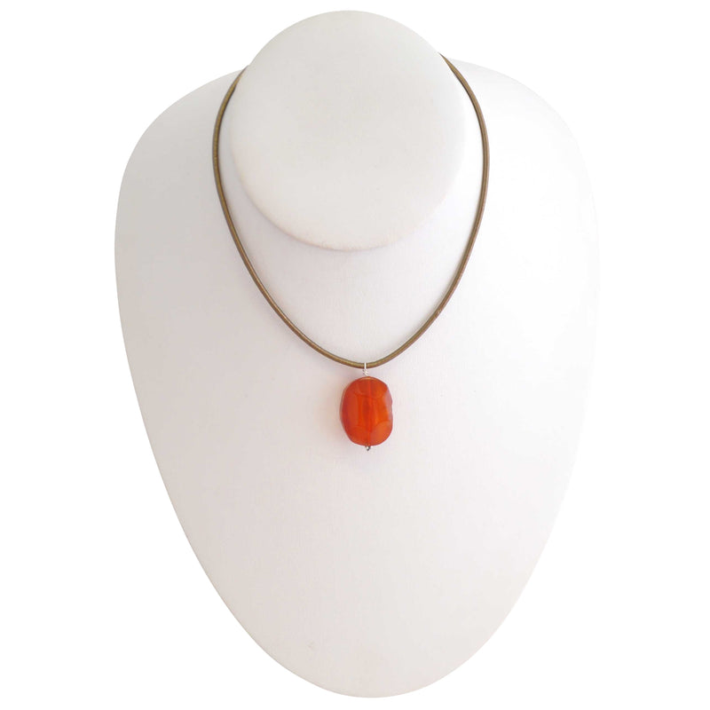 Simplicity Stone and Leather Necklace-Carnelian