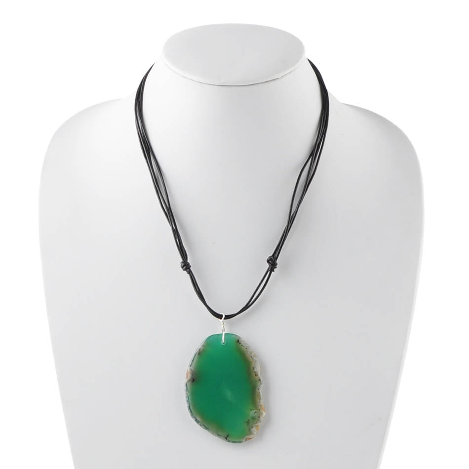 Long and Short of It Necklace-Green Agate