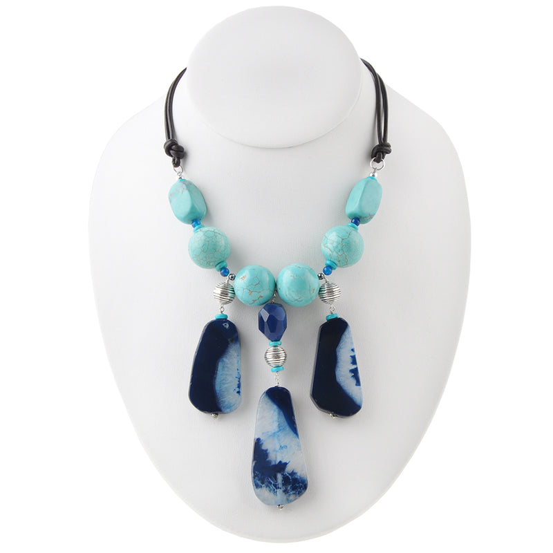 Blue Moon Leather and Stone Necklace