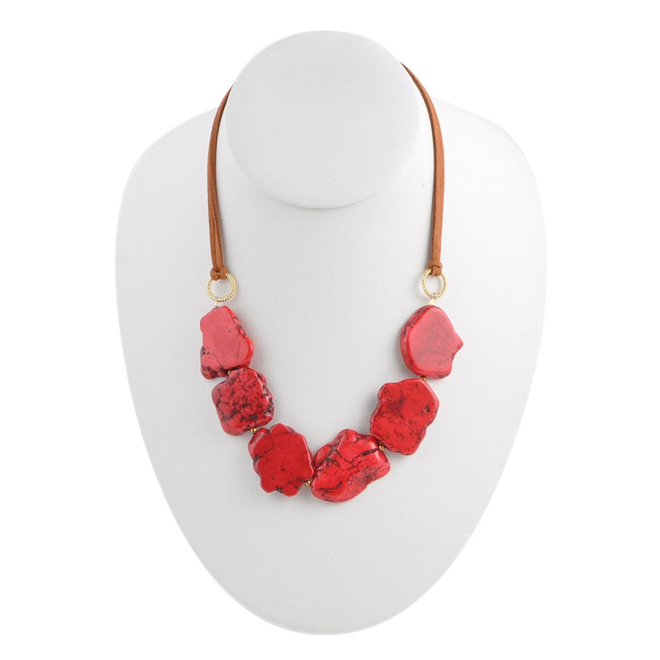 Six Score Magnesite and Leather Necklace