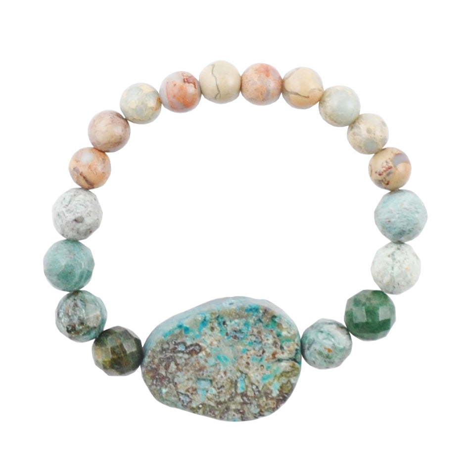 Turquoise and Impression Jasper Stretch Bracelet