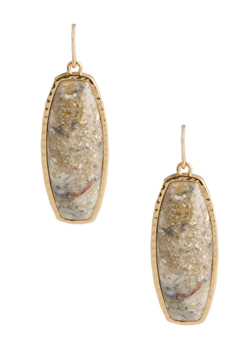 Long Bronze Statement Earring-African Opal