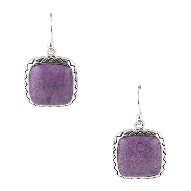 Square Deal Purple Stechtite Earring