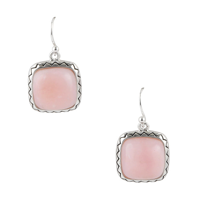 Square Deal Pink Opal Earring