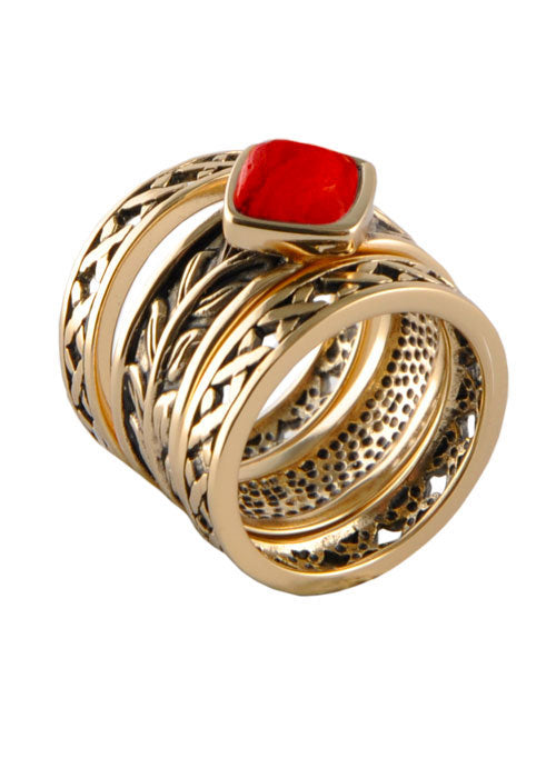 Ophelia Red Howlite Stack Ring Trio