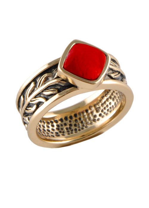 Red Howlite Single Stack Ring