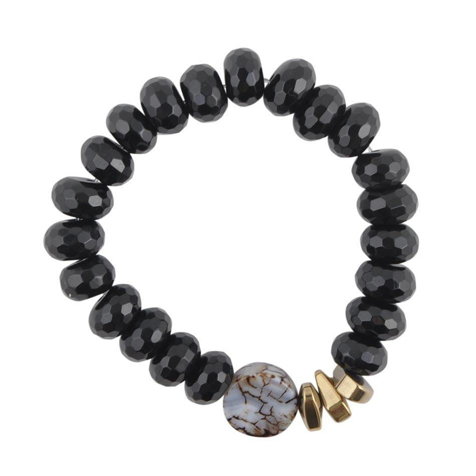 Agate and Onyx Stretch Bracelet