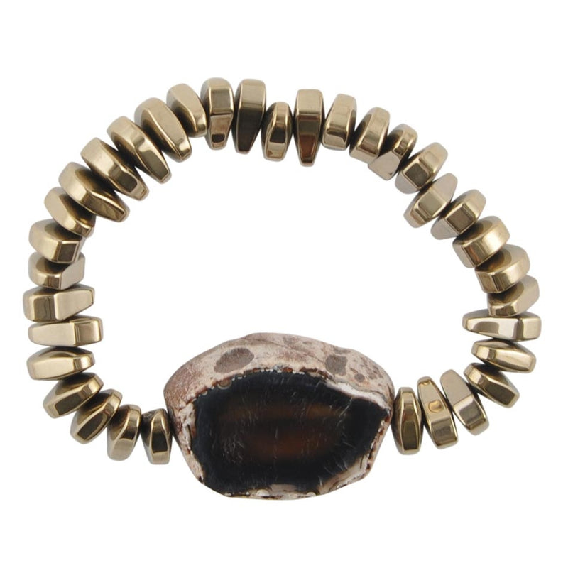 Agate and Hematite Stretch Bracelet