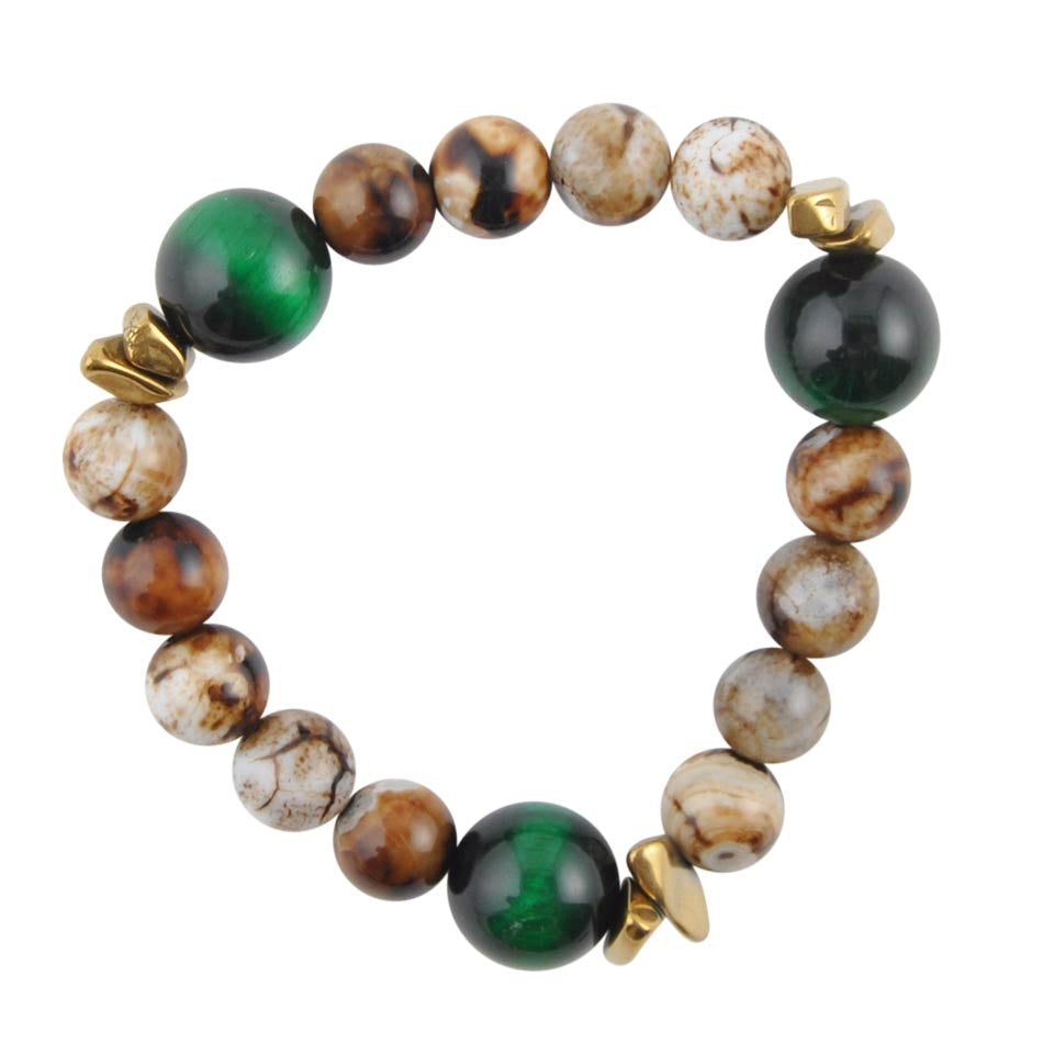 Agate and Green Tiger's Eye Stretch Bracelet