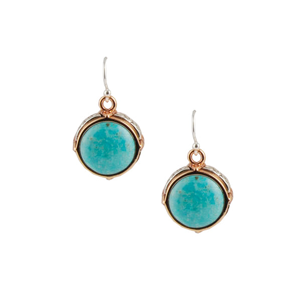 Round Turquoise Silver and Copper Earring