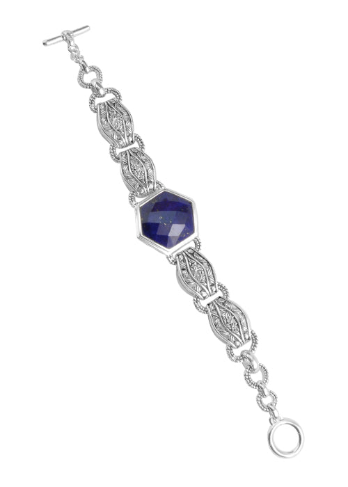 Dimensional Link Bracelet With Lapis