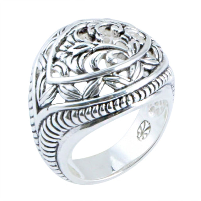 Scroll Dome Ring- Silver Overlay