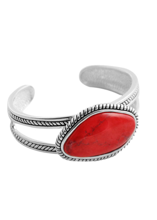 Red Howlite Abstract Cut Cuff
