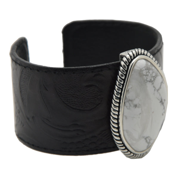Embossed Leather and Howlite Cuff Bracelet