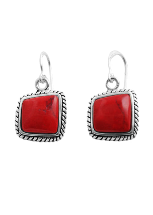 Red Howlite Abstract Earring
