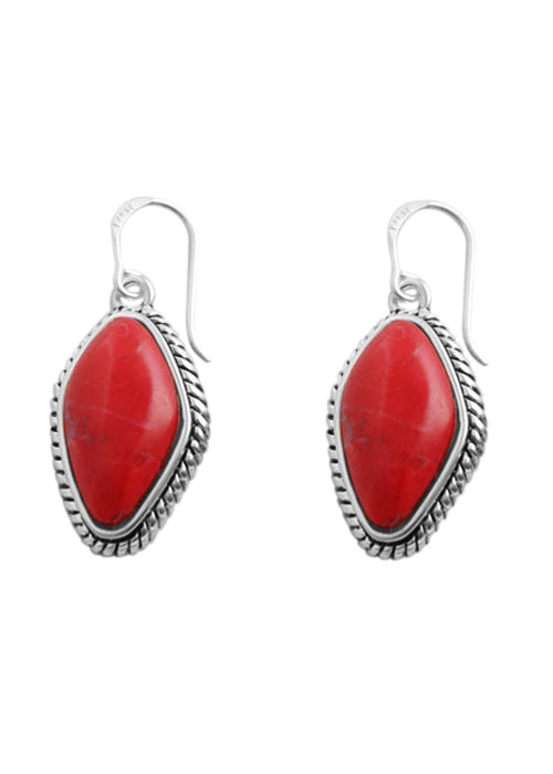 Red Howlite Abstract Cut Earring