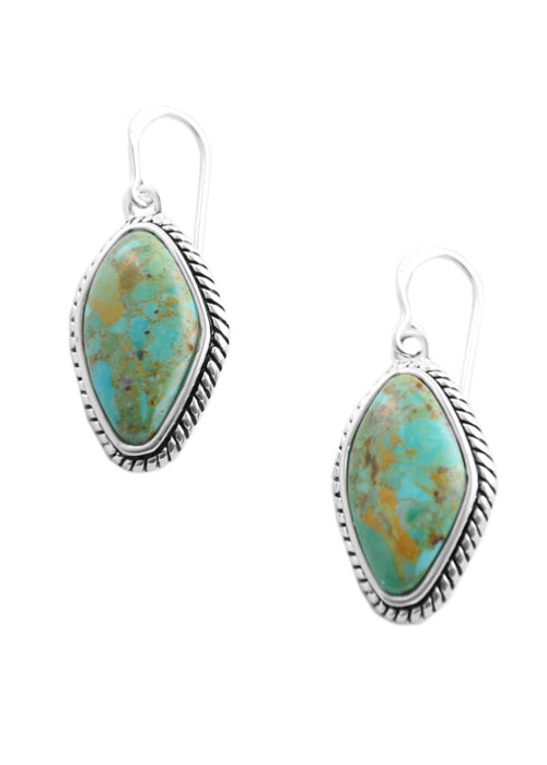 Genuine Turquoise Abstract Cut Earring