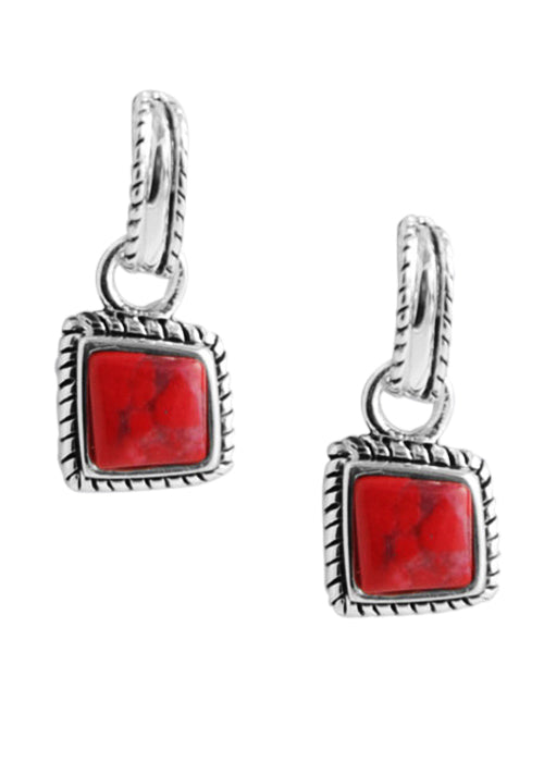 Half Hoop Red Howlite Earring