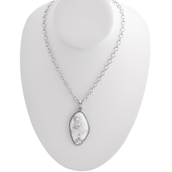 White Howlite Pendant and Necklace
