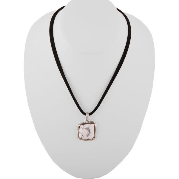 Sueded Leather and White Howlite Necklace