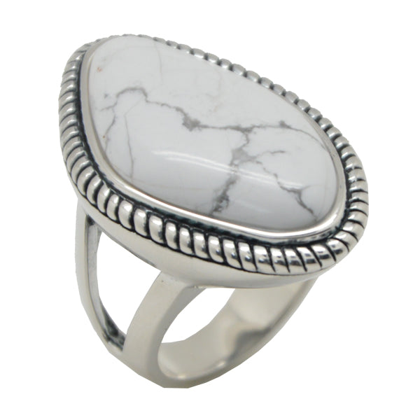 White Howlite Abstract Ring