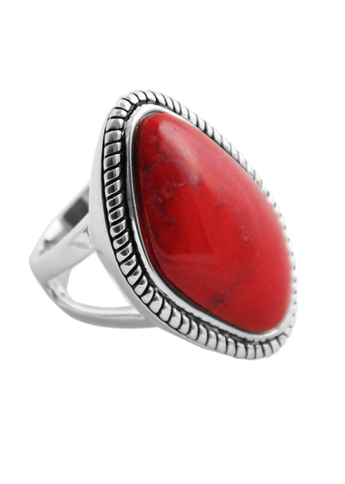Genuine Red-Howlite-Roped Ring