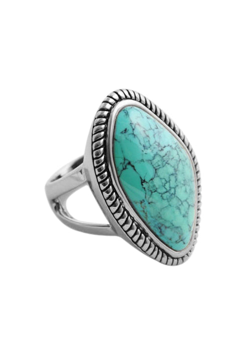 Genuine Turquoise Roped Ring