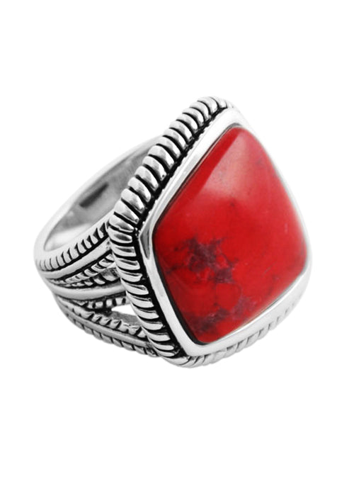Genuine Abstract Cut Red Howlite Ring