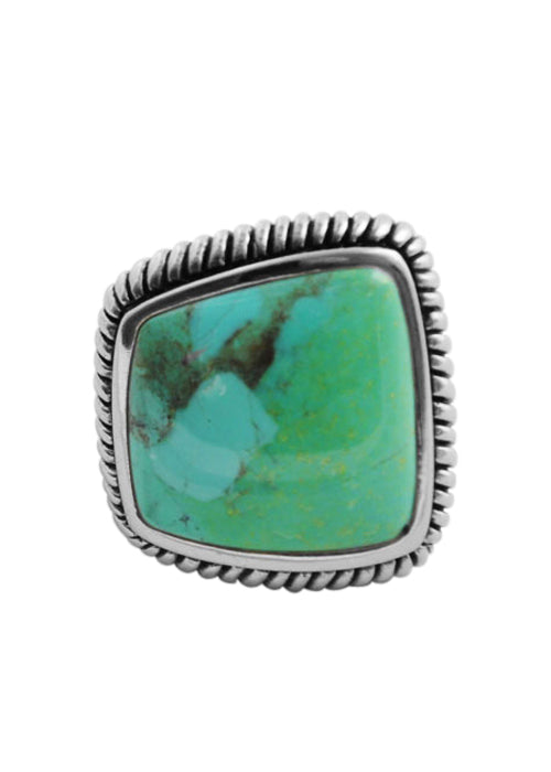 Genuine Abstract Cut Turquoise Ring