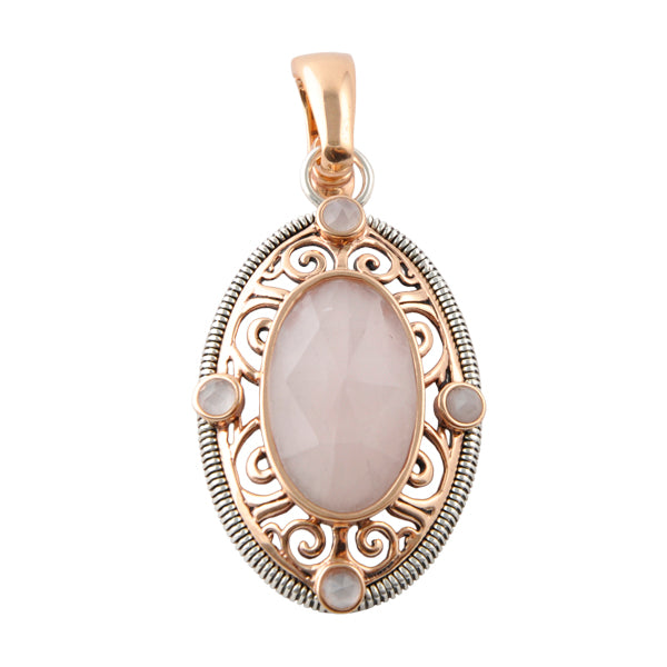 Mixed Metal Enhancer/Pendant with Rose Quartz
