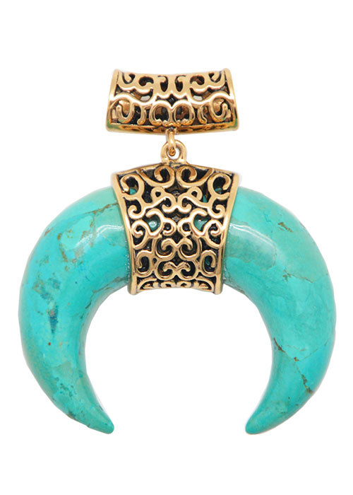 Turquoise and Bronze Horn Pendant
