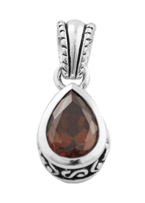 Faceted Teardrop Cognac Crystal Pendant