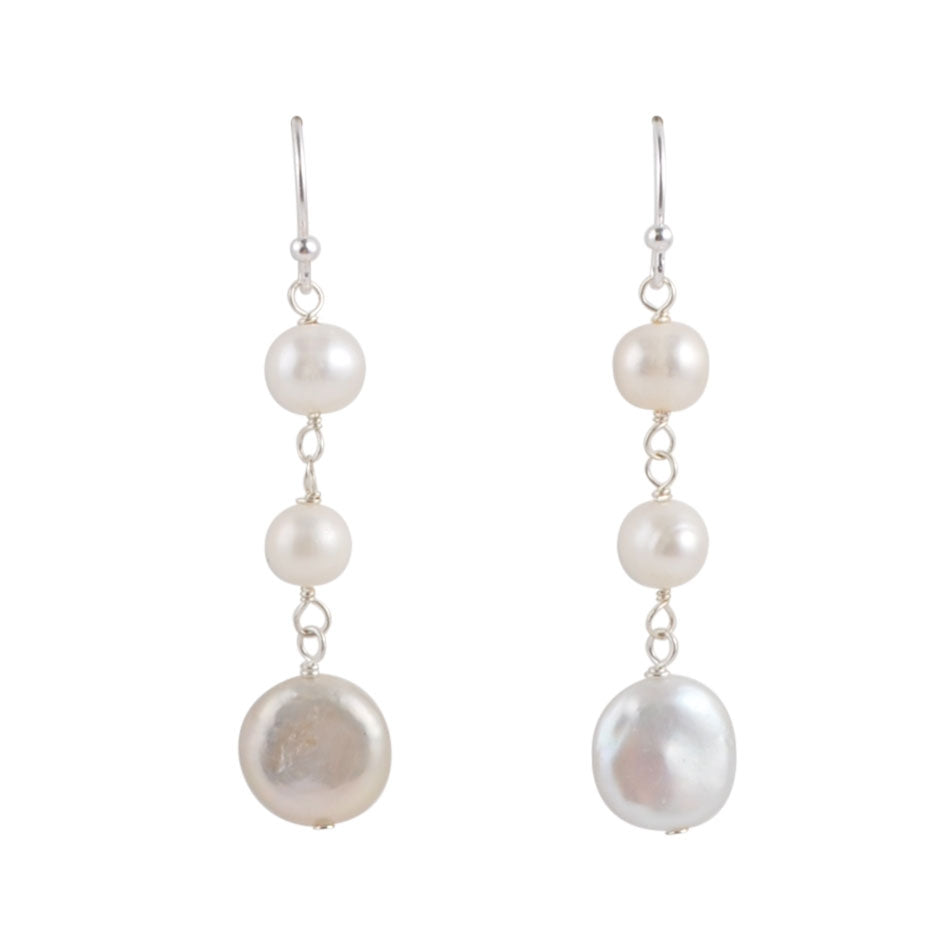 Dancing Pearls and Sterling Earring