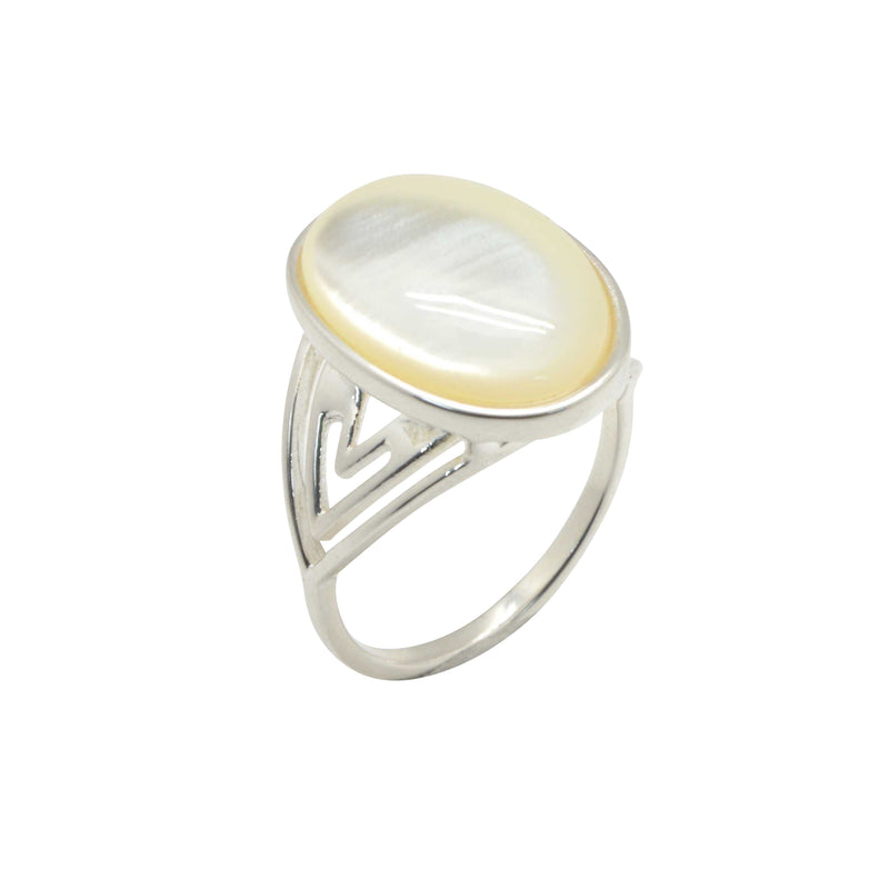 Rustic Refinement Ring- Mother of Pearl