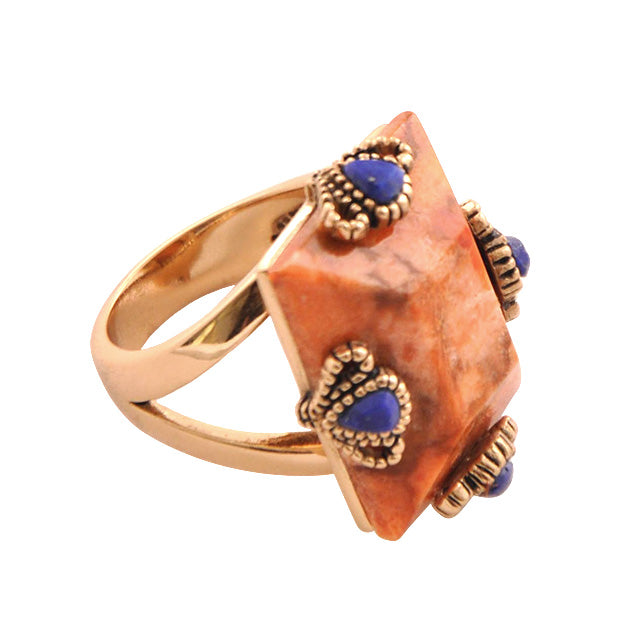 Coral and Lapis Stone Ring
