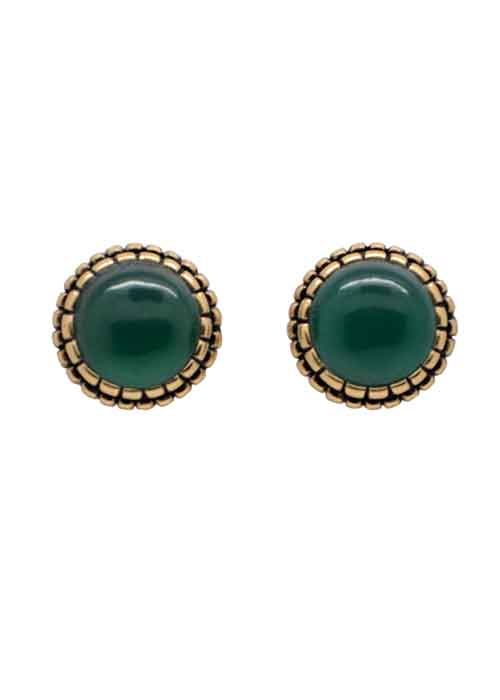 Perfect Post Earring- Green Onyx
