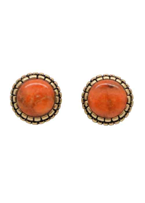 Perfect Post Earring- Orange Sponge Coral