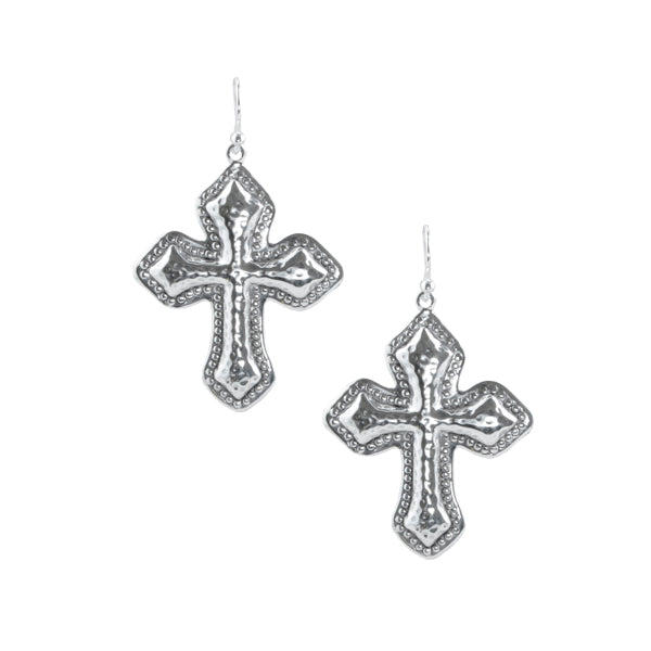 Hammered Cross Silver Earring