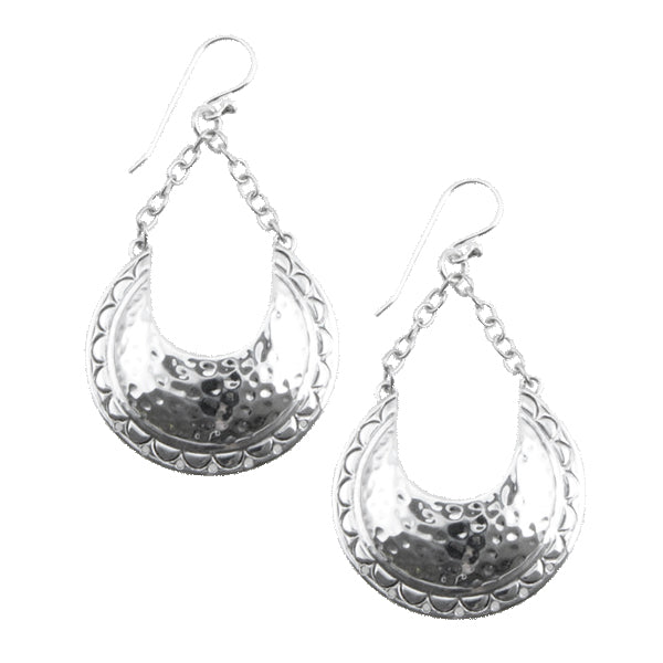 Curvilinear Hammered Silver Earring