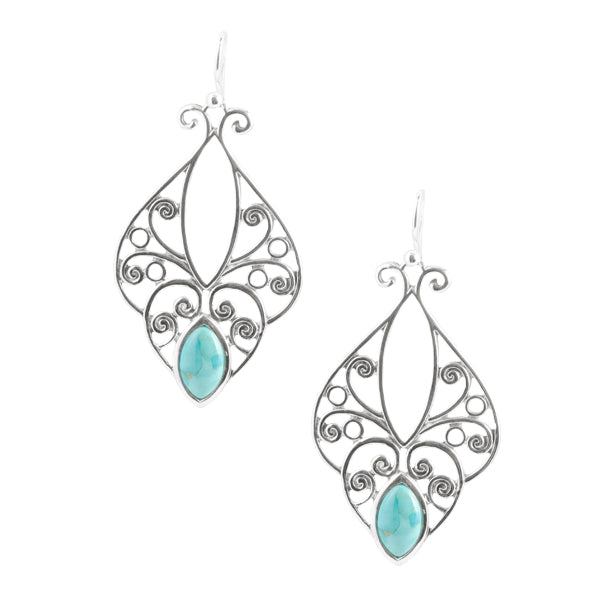 Heart Tendrils with Turquoise Earring