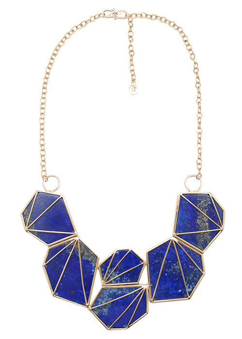 Prism Lapis and Bronze Necklace