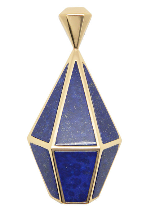 Prism Lapis and Bronze Pendant