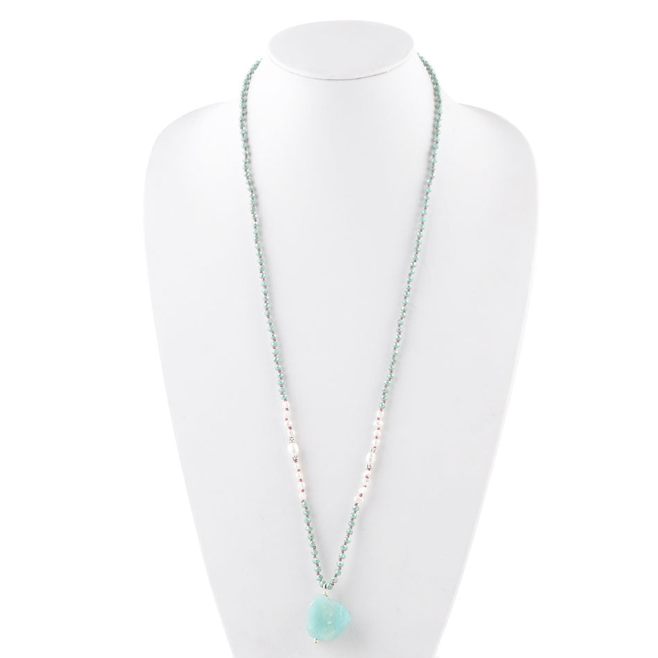 Alana Necklace-Amazonite & Pearl