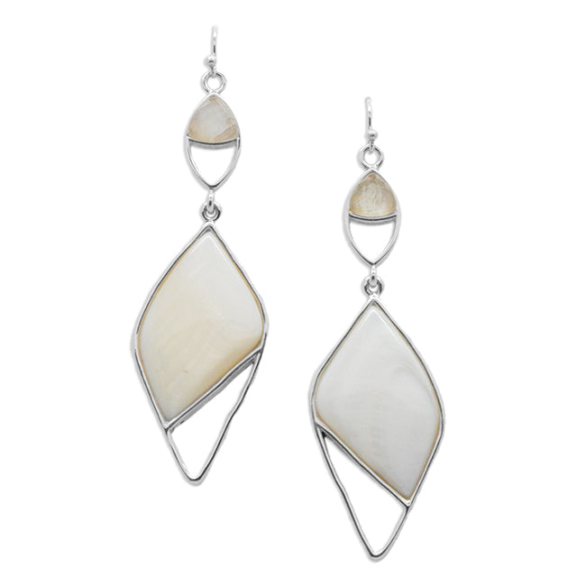 Pura Vida Stone Earring- Mother of Pearl and Moonstone