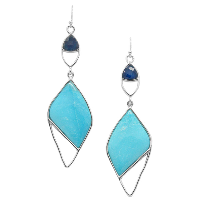 Pura Vida Stone Earring- Turquoise and Blue Agate