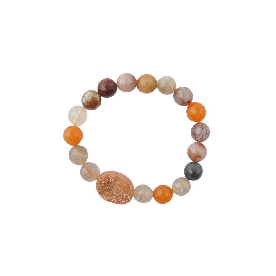 Agate and Crystal Drusy Stretch Bracelet