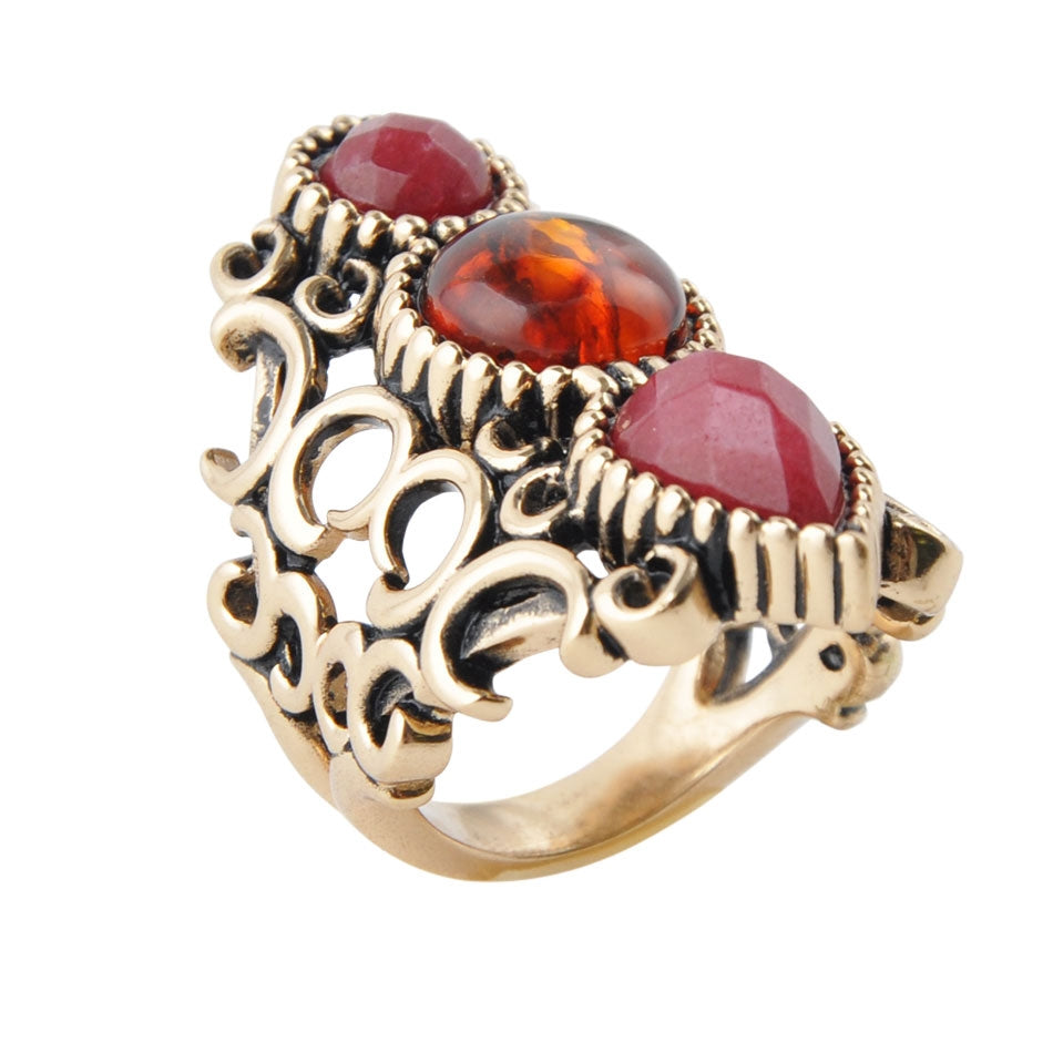 Royal Lineage Amber and Quartz Ring