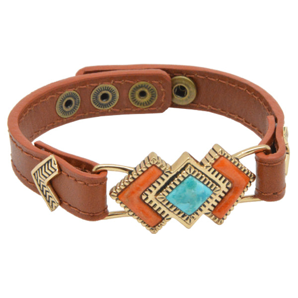 Rattler Geometric Stone and Leather Bracelet-Bronze